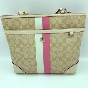 COACH Zip Tote Signature PVC Pink Interior Handbag